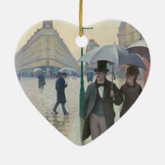 Rue de Paris Temps de Pluie by Gustave Caillebotte Ceramic Ornament