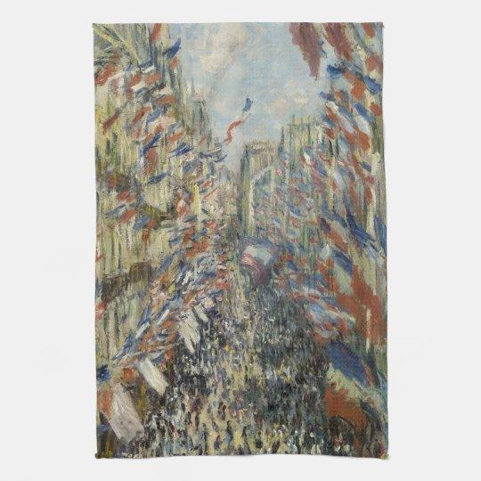 Rue Montorgueil in Paris by Claude Monet Kitchen Towel