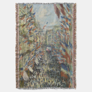 Rue Montorgueil in Paris Claude Monet Throw