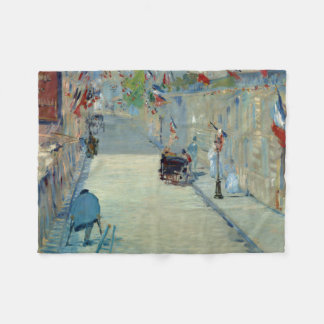 Rue Mosnier with Flags Manet Painting Blanket