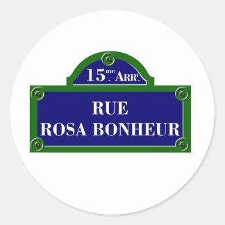 Rue Rosa Bonheur, Paris Street Sign Round Sticker