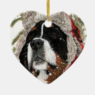 Ruff Winter Ceramic Heart Ornament