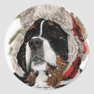Ruff Winter Round Sticker