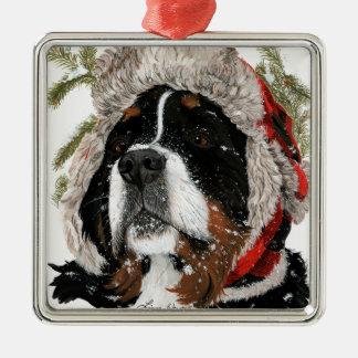 Ruff Winter Silver-Colored Square Ornament