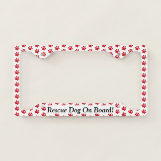 Ruffing Red Paw Prints Rescue Dog On Board License Plate Frame
