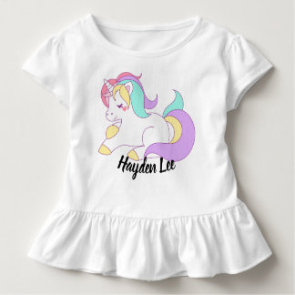 Ruffle bottom Unicorn & stars print toddler tshirt