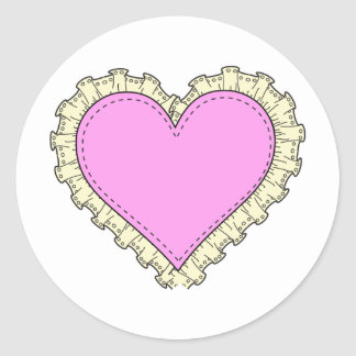 ruffle heart round sticker