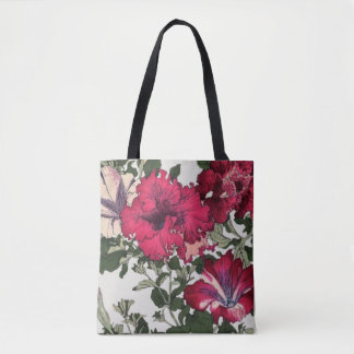 Ruffle Maroon and Pink Petunias Tote Bag