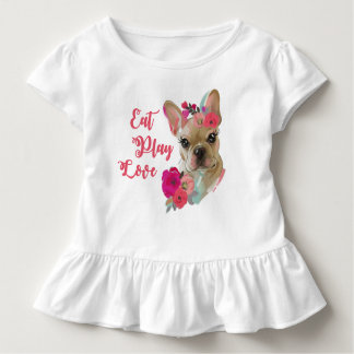 Ruffle tee with cute french bulldog art design