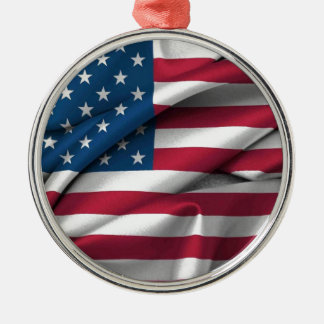 Ruffled America Flag Silver-Colored Round Ornament