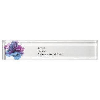 Ruffled Double Hibiscus flower lavender denim blue Name Plates