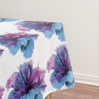 Ruffled Double Hibiscus flower lavender denim blue Tablecloth