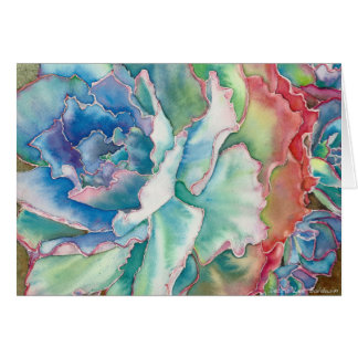 Ruffled Echeveria Watercolor by DLB Card