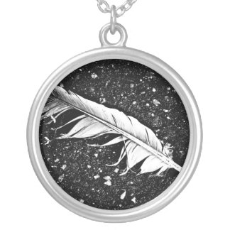 Ruffled Feather Silver Plated Necklace
