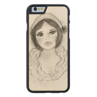 Ruffled Flapper Girl Carved Maple iPhone 6 Case