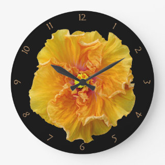 Ruffled Hibiscus Bloom Wall Clocks