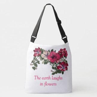 Ruffled Pink Petunia Floral Print Crossbody Bag