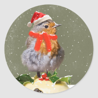 Ruffled Robin Christmas Sticker