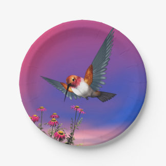 Rufous hummingbird - 3D render 7 Inch Paper Plate