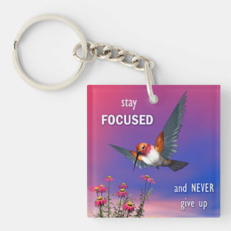 Rufous hummingbird - 3D render Double-Sided Square Acrylic Keychain