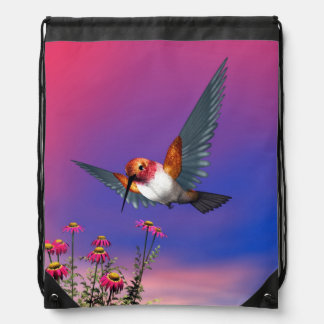 Rufous hummingbird - 3D render Drawstring Bag