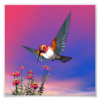 Rufous hummingbird - 3D render Photo Print