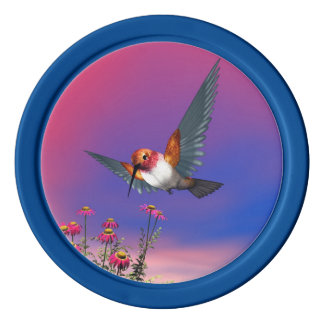 Rufous hummingbird - 3D render Poker Chips
