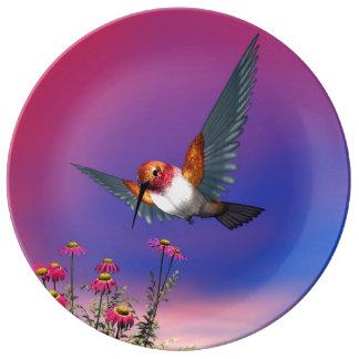 Rufous hummingbird - 3D render Porcelain Plate