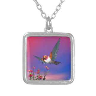 Rufous hummingbird - 3D render Silver Plated Necklace