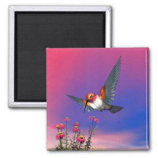 Rufous hummingbird - 3D render Square Magnet