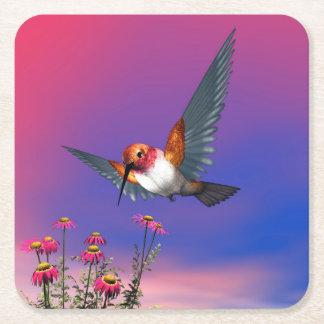 Rufous hummingbird - 3D render Square Paper Coaster