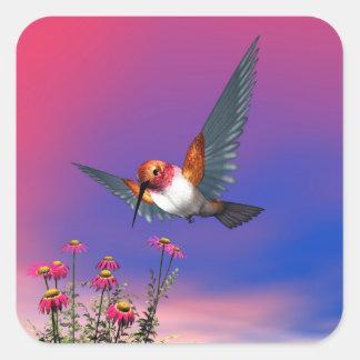 Rufous hummingbird - 3D render Square Sticker