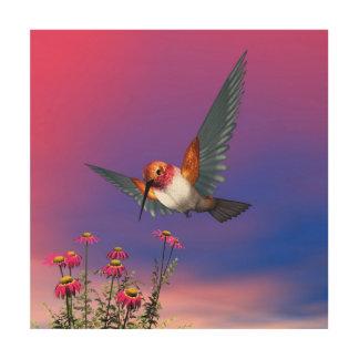 Rufous hummingbird - 3D render Wood Prints