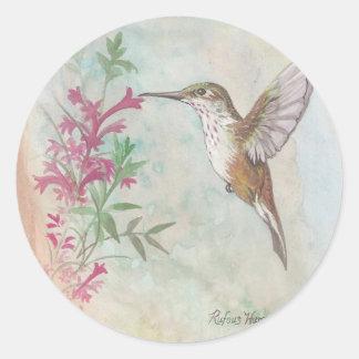 Rufous Hummingbird Round Sticker