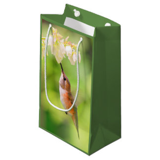 Rufous Hummingbird Sips Blueberry Blossom Nectar Small Gift Bag