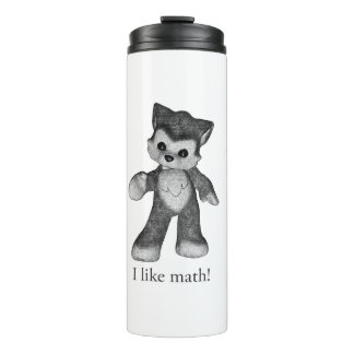 Rufus the Wolf thermal tumbler I like math!