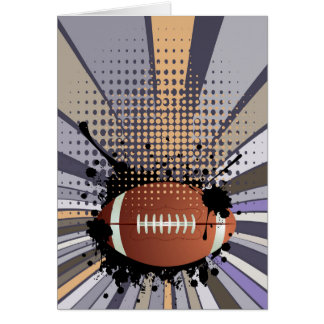 Rugby Ball on Rays Background Card