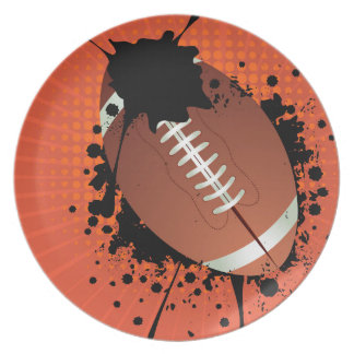 Rugby Ball on Rays Background Dinner Plate