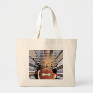 Rugby Ball on Rays Background Large Tote Bag