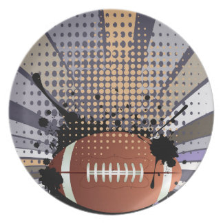 Rugby Ball on Rays Background Party Plate