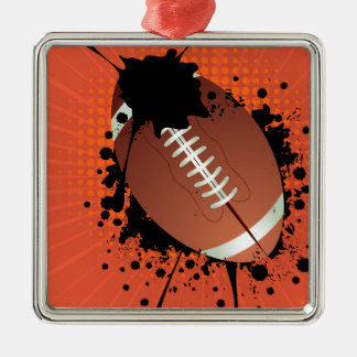 Rugby Ball on Rays Background Silver-Colored Square Ornament