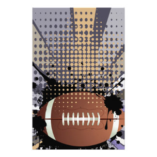 Rugby Ball on Rays Background Stationery