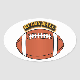 Rugby Ball with Text Oval Sticker