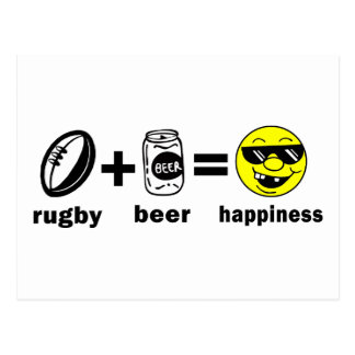 Rugby + Beer = Happiness Postcard
