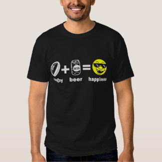 Rugby + Beer = Happiness T-shirts