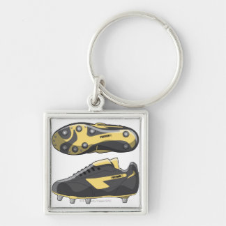 Rugby boots Silver-Colored square keychain
