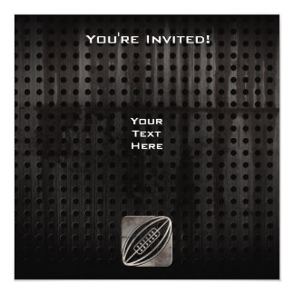 """Rugby; Cool Black 5.25"""" Square Invitation Card"""