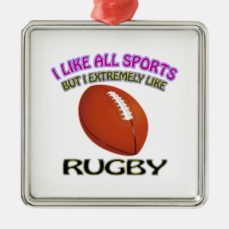 Rugby designs metal ornament