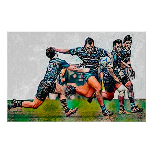 Rugby Fend - Art On Canvas Print