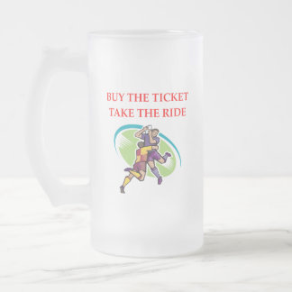 rugby frosted glass beer mug